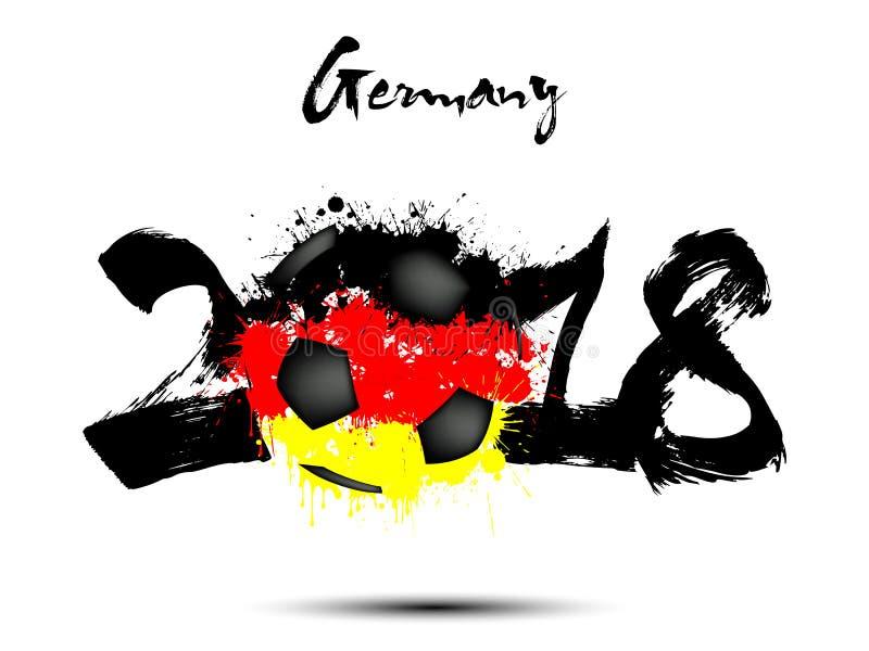 Abstrakcjonistyczna liczba 2018 i piłki nożnej piłki kleks royalty ilustracja