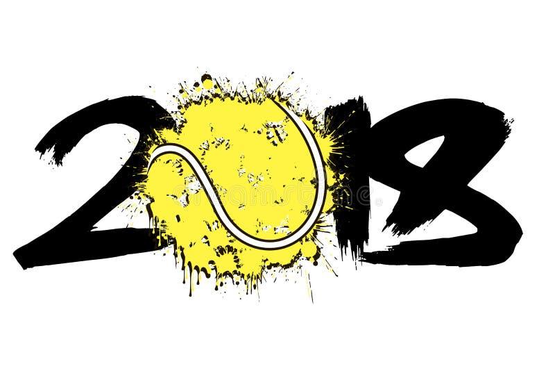 Abstrakcjonistyczna liczba 2018 i tenisowa piłka ilustracji