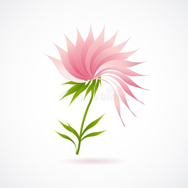 Abstrakcjonistyczna lotosowego kwiatu ikona odizolowywająca na bielu ilustracji