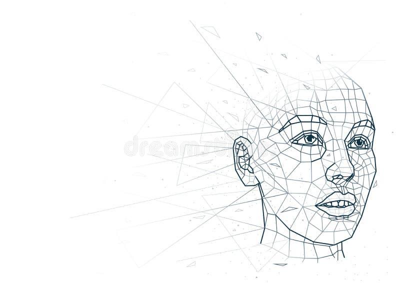 Abstrakcjonistyczna Ludzka głowa Niski Poli- Wireframe royalty ilustracja