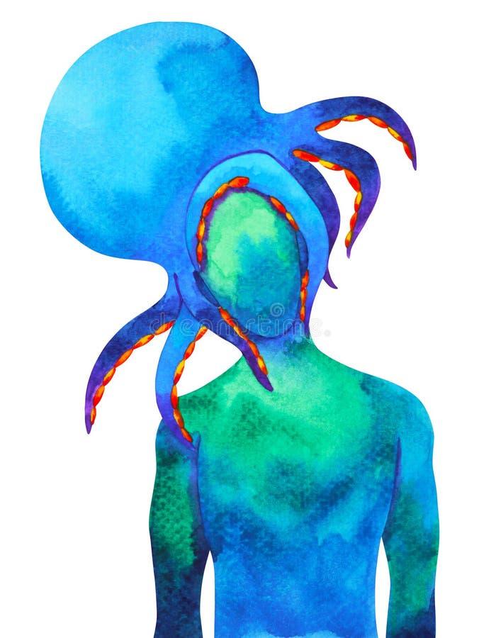 Abstrakcjonistyczna ludzka ośmiornicy głowy akwareli obrazu ilustracja ilustracji