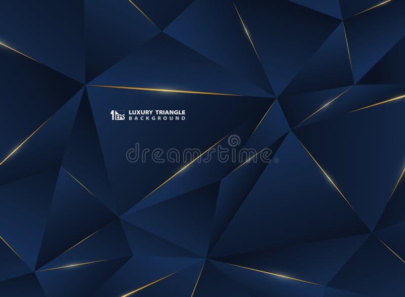 Abstrakcjonistyczna luksusowa złota linia z klasycznym błękitnym szablon premii tłem Dekorujący w wzorze premia wieloboka styl dl royalty ilustracja
