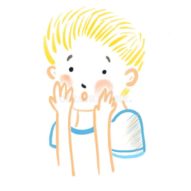 Abstrakcjonistyczna mała zaaferowana chłopiec z rumienem na jego policzkach zakrywa twarz z jego ręki Ludzkie emocje, czupiradło, ilustracji
