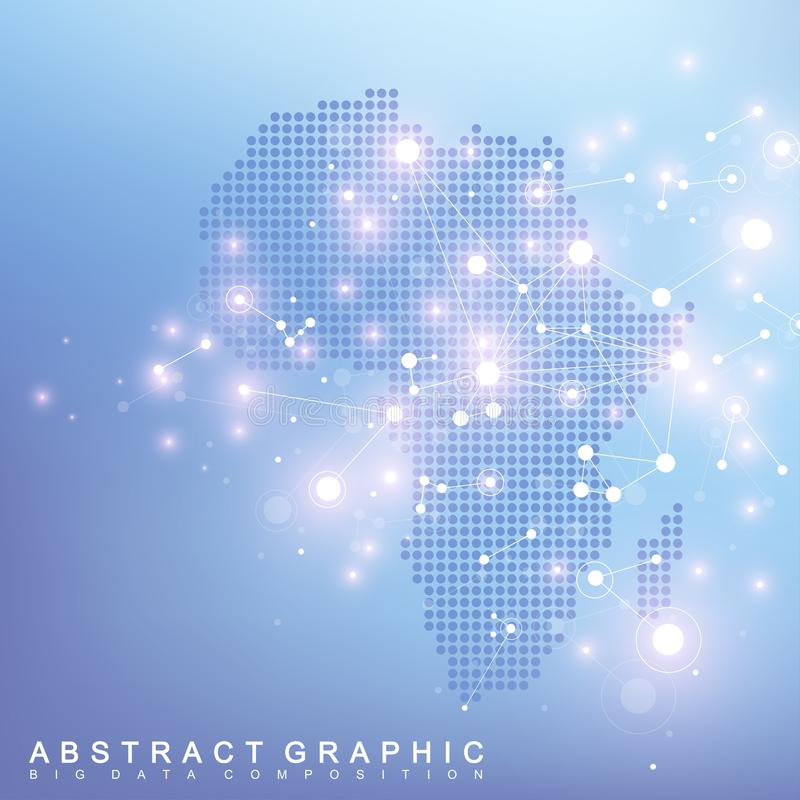 Abstrakcjonistyczna mapa Afryka kraju globalnej sieci związek Wektorowej tło technologii futurystyczny plexus ilustracja wektor
