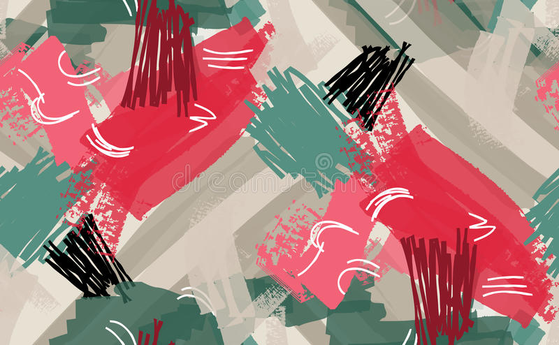 Abstrakcjonistyczna markiera i atramentu uderzeń czerwień zielenieje szarość royalty ilustracja
