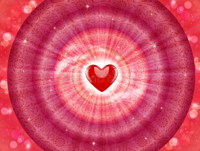 Abstrakcjonistyczna miłość, romantyczny tło z czerwonym sercem i round ramy, ilustracja wektor
