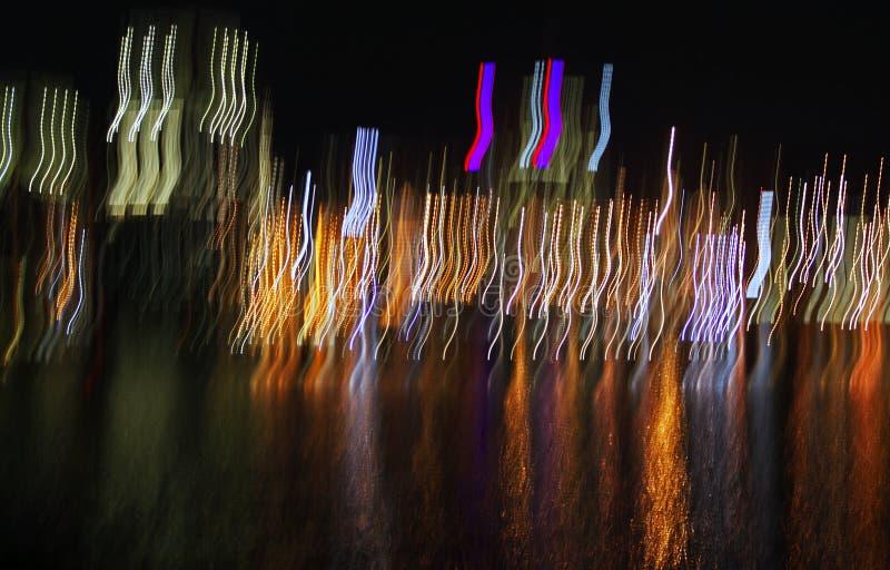 Abstrakcjonistyczna miasta świateł odbicia wody plama zdjęcie royalty free