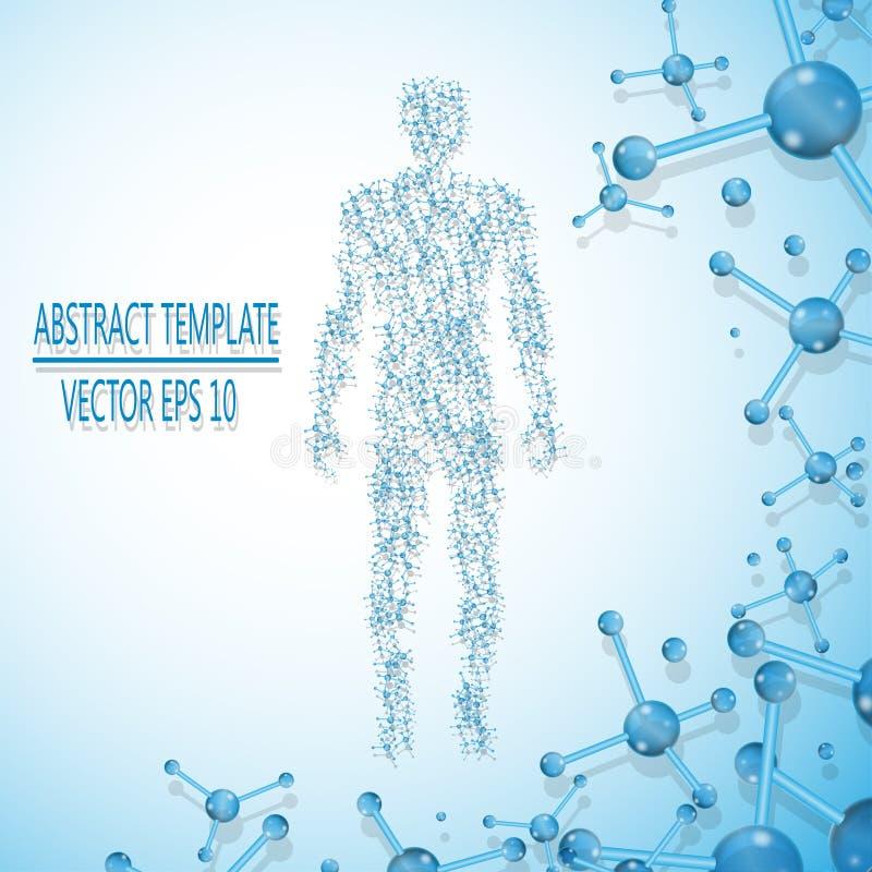 Abstrakcjonistyczna molekuła opierający się ludzki postaci pojęcie ilustracja wektor