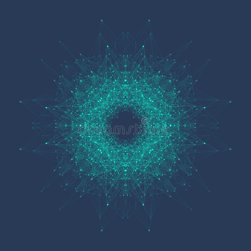 Abstrakcjonistyczna molekuły struktura DNA helix, DNA pasemko, molekuła lub atom, neurony Cząsteczkowa struktura dla nauki lub royalty ilustracja
