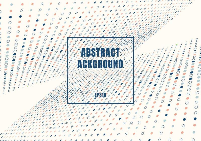 Abstrakcjonistyczna multicolor kropka wzoru halftone stylu perspektywa na białym tle z kwadrat ramą ilustracji