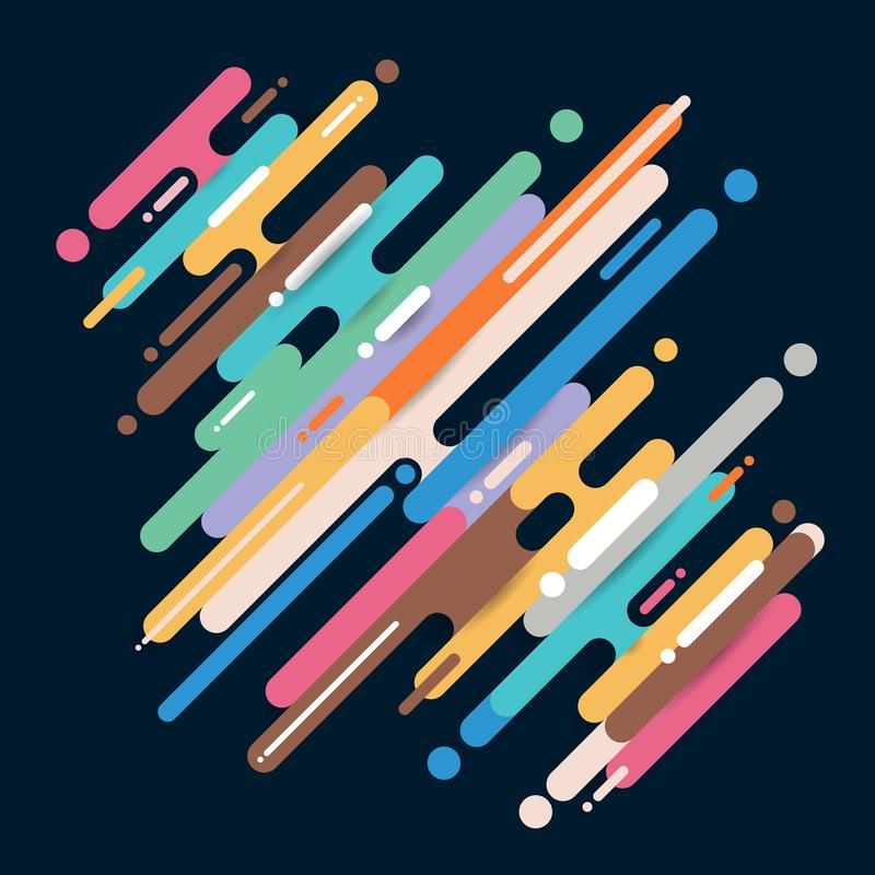 Abstrakcjonistyczna multicolor przek?tna zaokr?glaj?ca kszta?tuje linii przemian? na ciemnym tle z kopii przestrzeni? Elementu ha royalty ilustracja