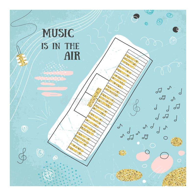 Abstrakcjonistyczna muzyczna fortepianowa ręka rysująca karta doodle ilustracja obrazków mój portfolio widzii jednakowego wektor  royalty ilustracja