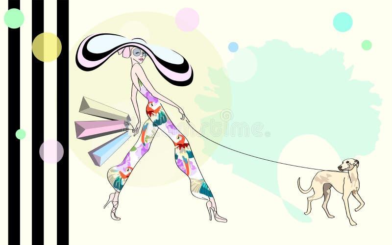 Abstrakcjonistyczna nakreślenie dziewczyna, pies, torba na zakupy, ilustracja wektor