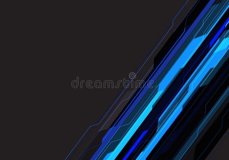 Abstrakcjonistyczna niebieska linia obwodu technologia na szarym pustym astronautycznego projekta tła nowożytnym futurystycznym w ilustracji