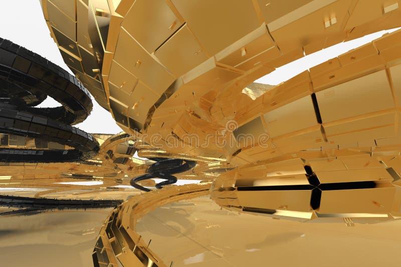 Abstrakcjonistyczna nowożytna przyszłościowa architektura zawiera kształtujących budynki w postaci spiral kierować upwards fasada zdjęcia royalty free