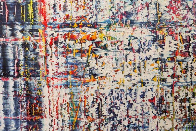 Abstrakcjonistyczna obraz sztuka: Uderzenia z Różnymi kolorów wzorami lubią błękit, rewolucjonistkę i kolor żółtego, obraz stock