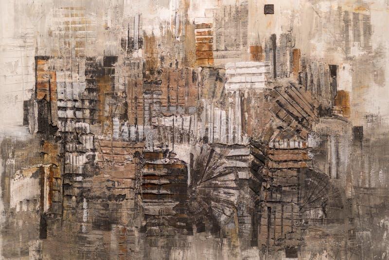 Abstrakcjonistyczna obraz sztuka: Uderzenia z R??nymi kolor?w wzorami jak rewolucjonistka, szaro?? i biel, obrazy stock