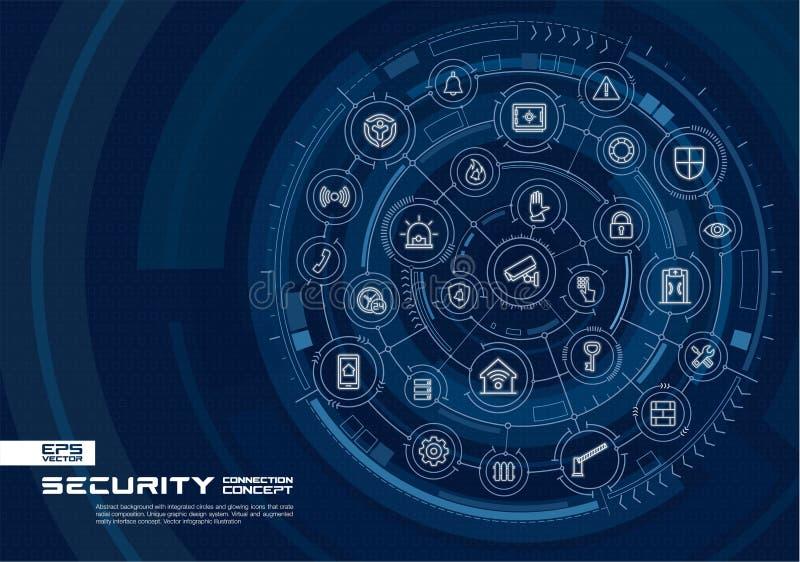 Abstrakcjonistyczna ochrona, kontrola dostępu tło Digital łączy system z zintegrowanymi okręgami, rozjarzonymi cienieje kreskowe  royalty ilustracja