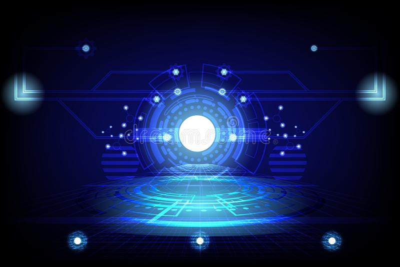 Abstrakcjonistyczna okręgu pojęcia innowacja łączy cyfrowej linii inżynierię w światowej technologii cyfrowej dane komputeru medy royalty ilustracja