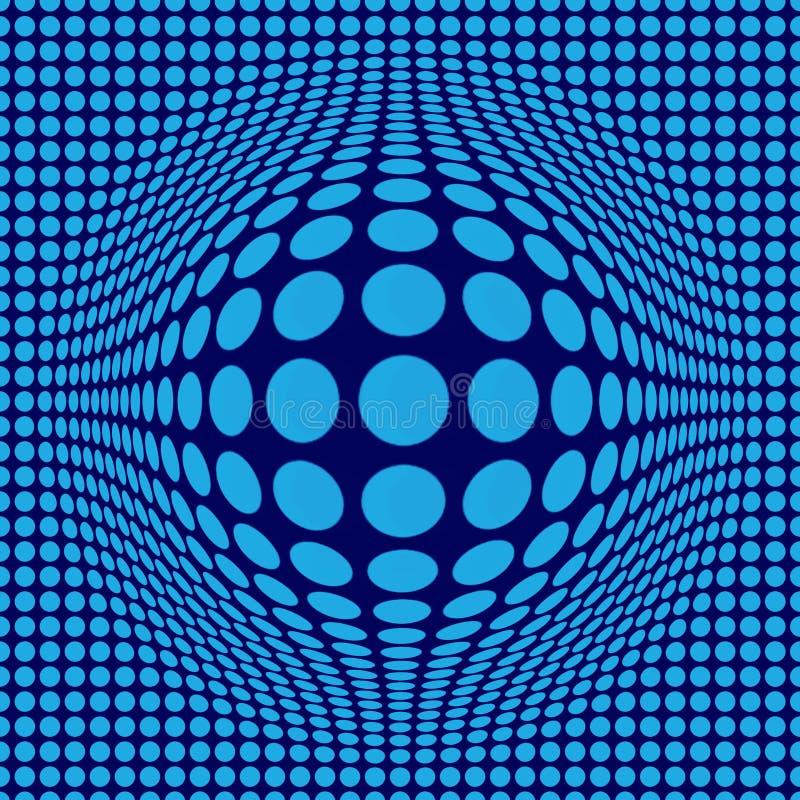 Abstrakcjonistyczna Okulistycznego złudzenia Op sztuka z błękit kropkami na zmroku - błękitny tło ilustracja wektor