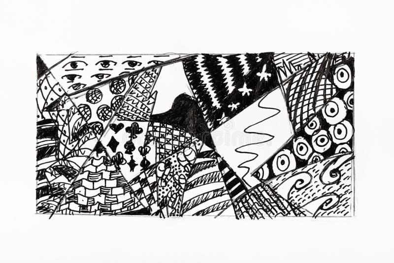 Abstrakcjonistyczna ornament ręka rysująca czarnym atramentem ilustracja wektor