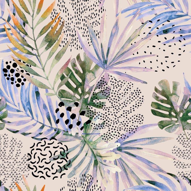 Abstrakcjonistyczna palma, monstera liścia bezszwowy wzór ilustracji