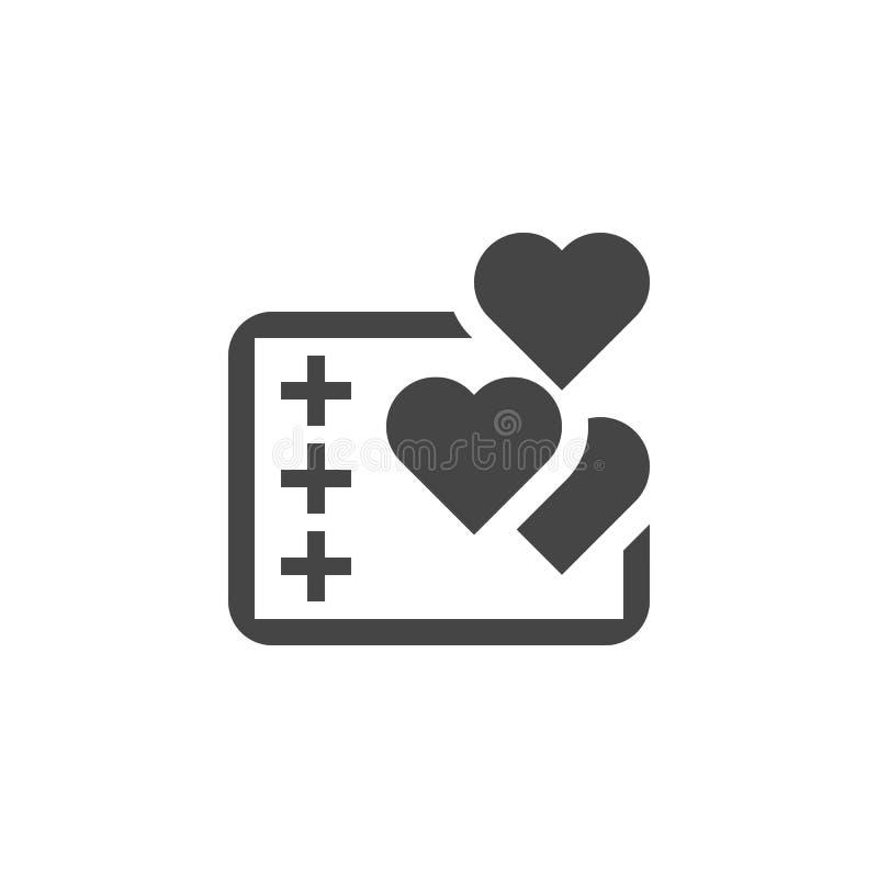 Abstrakcjonistyczna pastylka z pluses i sercami Komunikacja, pozytywna informacje zwrotne, gadki pojęcia ikona w płaskim projekci royalty ilustracja