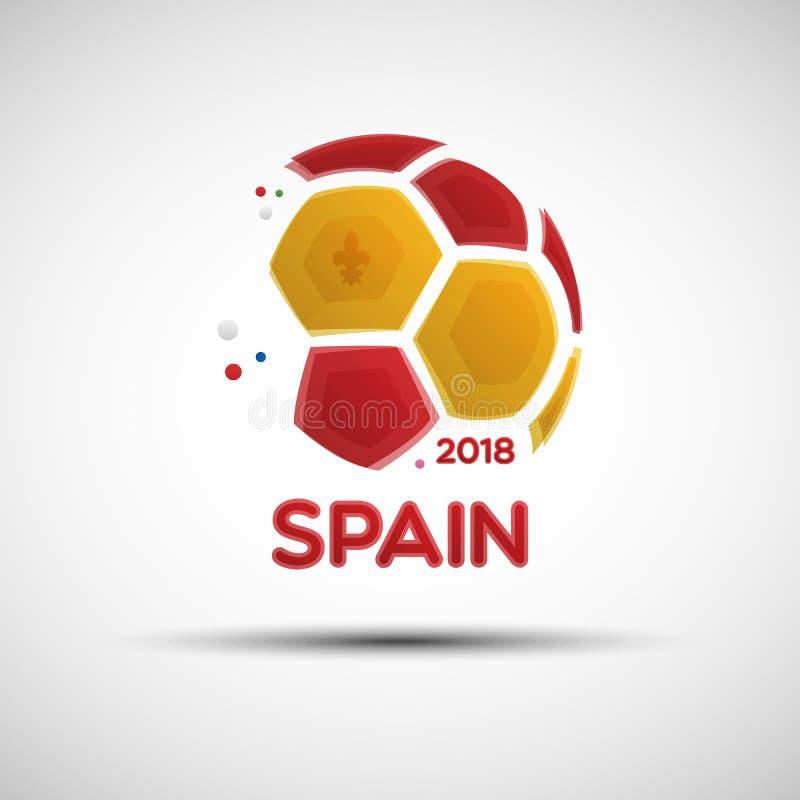 Abstrakcjonistyczna piłki nożnej piłka z Hiszpańskimi flaga państowowa kolorami royalty ilustracja