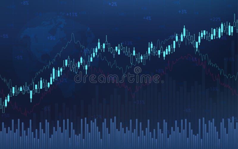 Abstrakcjonistyczna pieniężna candlestick mapa z kreskowym wykresem i akcyjnymi liczbami na gradientowym błękitnym koloru tle royalty ilustracja