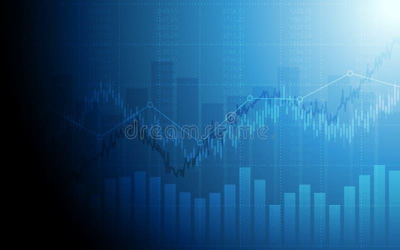 Abstrakcjonistyczna pieniężna mapa z candlestick wykresem i rynek papierów wartościowych na błękitnym koloru tle ilustracja wektor