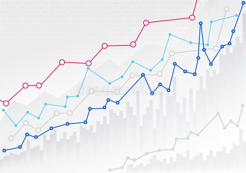 Abstrakcjonistyczna pieniężna mapa z trendu kreskowym wykresem liczbami w rynku papierów wartościowych i Mockup szablon Przygotow royalty ilustracja