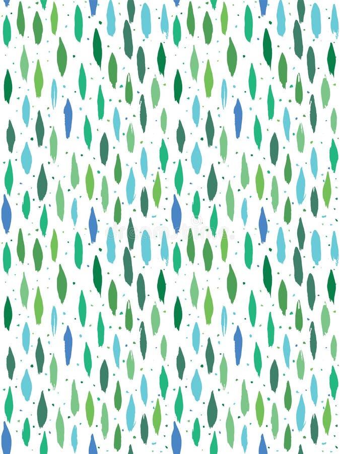 Abstrakcjonistyczna pionowo ręka malujący owalu muśnięcie i kropka projekt w muskamy świeżej zieleni i błękitów kolorach wektor b royalty ilustracja