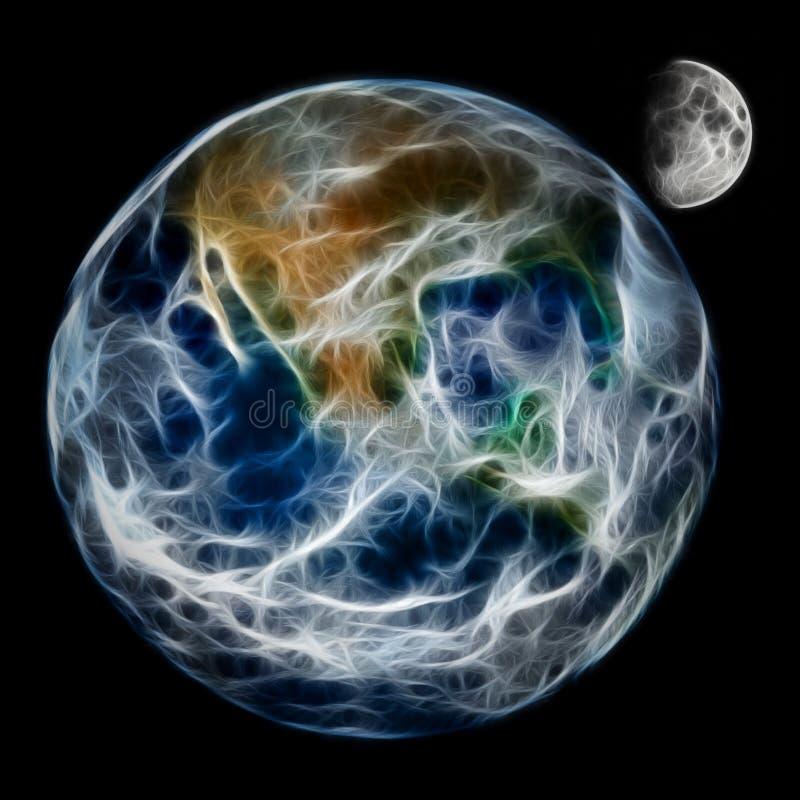 Abstrakcjonistyczna planety ziemia, księżyc i ilustracja wektor