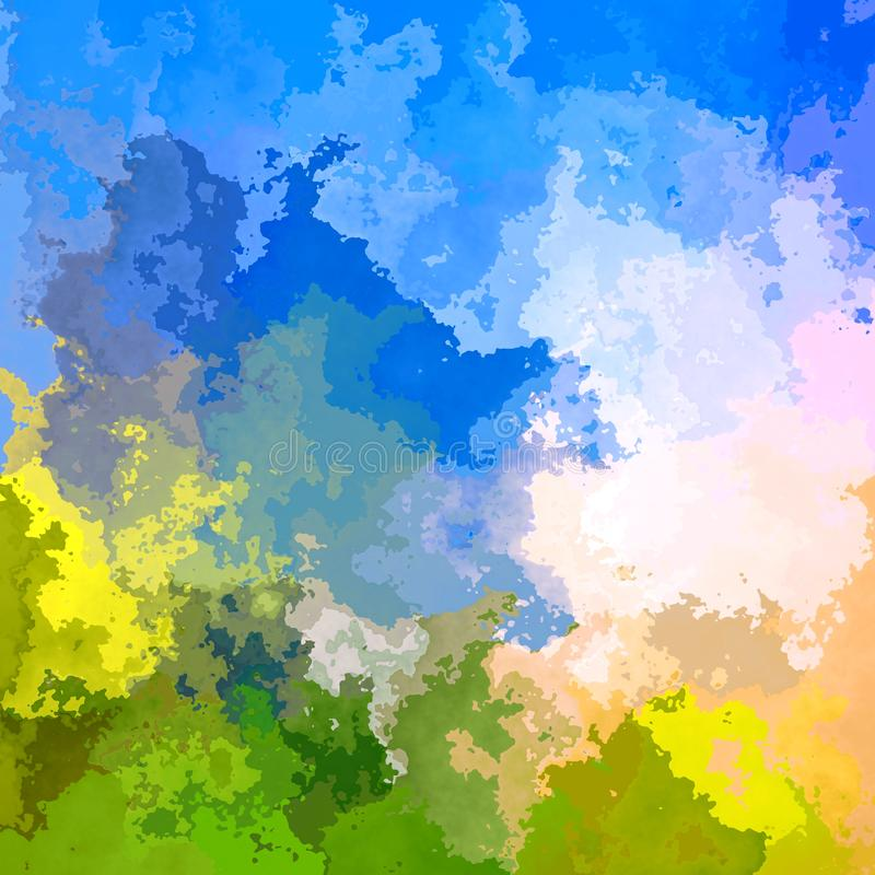 Abstrakcjonistyczna pobrudzona kwadratowa tło zieleni łąka i nieba błękit barwimy akwareli splotch - nowożytna obraz sztuka ilustracji