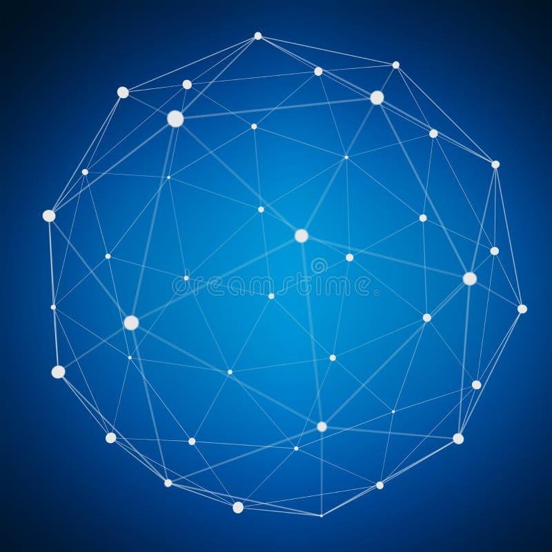 Abstrakcjonistyczna podłączeniowa sieci sfera z punktu i linii 3D renderingiem royalty ilustracja