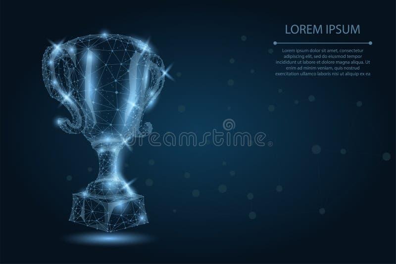 Abstrakcjonistyczna poligonalna trofeum filiżanka Niska poli- wireframe wektoru ilustracja Mistrzowie nagradzają dla sporta zwyci royalty ilustracja