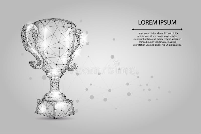 Abstrakcjonistyczna poligonalna trofeum filiżanka Niska poli- wireframe wektoru ilustracja Mistrzowie nagradzają dla sporta zwyci ilustracji
