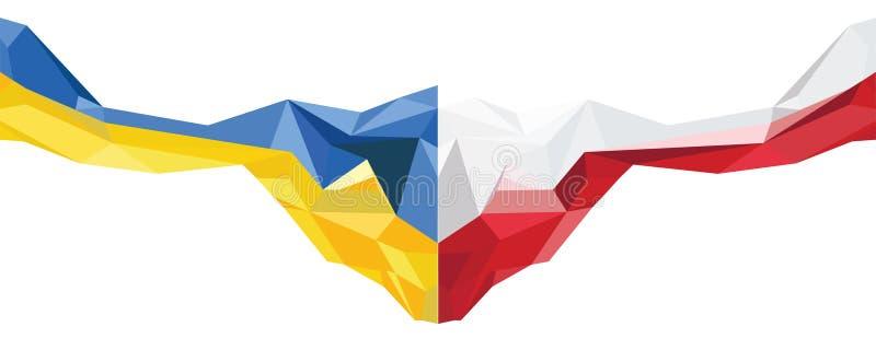 Abstrakcjonistyczna Polska i Ukraina flaga ilustracja wektor