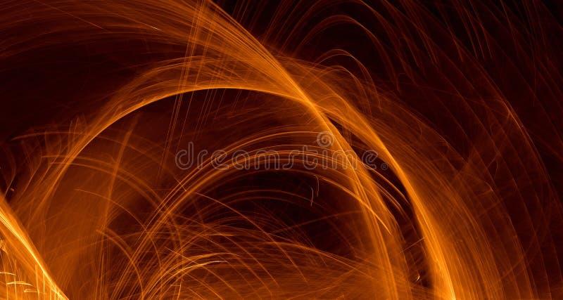 Abstrakcjonistyczna pomarańcze, kolor żółty, złota światła łuny, promienie, kształtuje na ciemnym tle royalty ilustracja