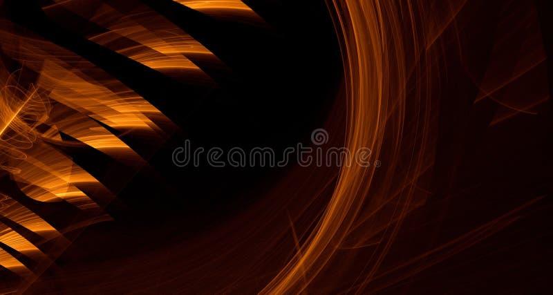 Abstrakcjonistyczna pomarańcze, kolor żółty, złota światła łuny, promienie, kształtuje na ciemnym tle ilustracji
