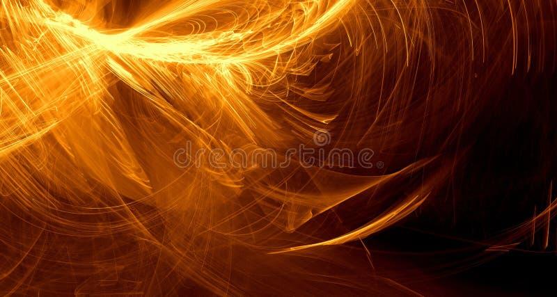 Abstrakcjonistyczna pomarańcze, kolor żółty, złota światła łuny, promienie, kształtuje na ciemnym tle ilustracja wektor