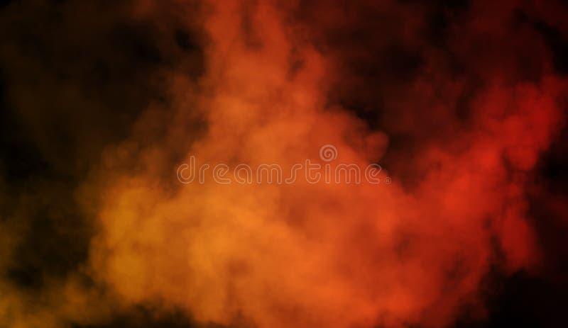 Abstrakcjonistyczna pomarańcze vs czerwień dymu kontrpara rusza się na czarnym tle Pojęcie aromatherapy zdjęcia royalty free