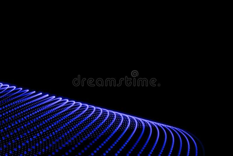 Abstrakcjonistyczna postać błękitnawi światła na czarnym tle ilustracja wektor