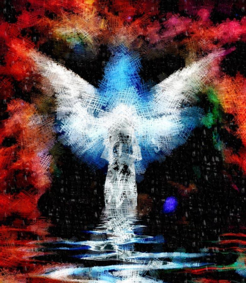 Abstrakcjonistyczna postać i skrzydła ilustracja wektor