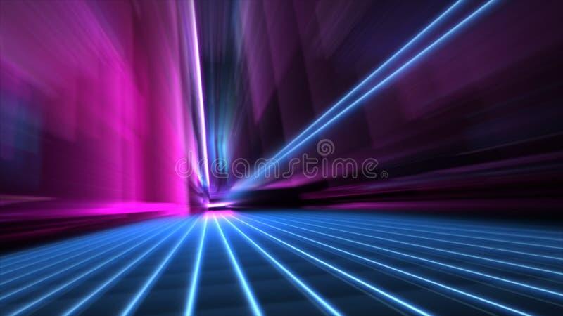 Abstrakcjonistyczna prędkość zamazującego 80s błękitna i różowa neonowa stylowa miasto ulica przy nocy 4k tapetą ilustracji
