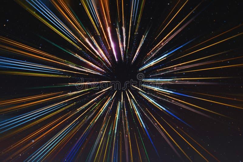 Abstrakcjonistyczna prędkość wykłada ruch, z gwiazdy tłem, podróż kosmiczna, czas podróży pojęcie fotografia stock