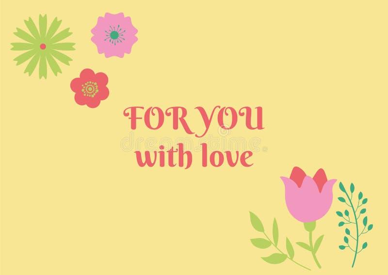 Abstrakcjonistyczna projekt walentynki z miłość kwiatami na tle i tekstem Ręka rysująca romantyczna świętowanie znaka wiadomość obrazy royalty free