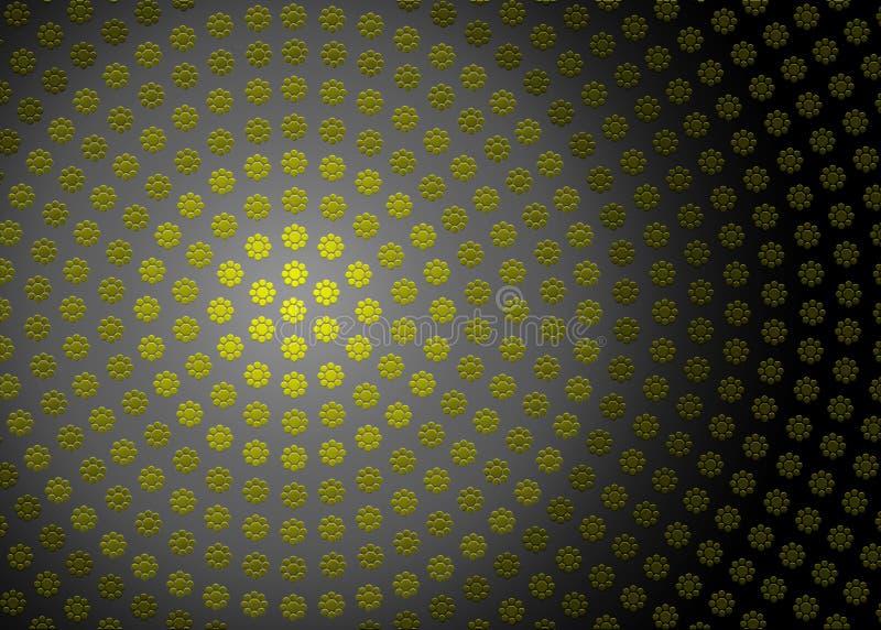 Abstrakcjonistyczna Promieniowa Żółta Geometryczna Kwiecista tekstura w Ciemnym tle ilustracja wektor