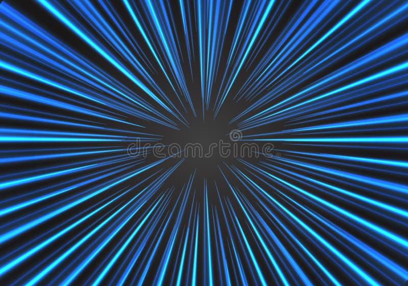 Abstrakcjonistyczna promieniowa zoom prędkości niebieska linia na czarnym wektorze ilustracji