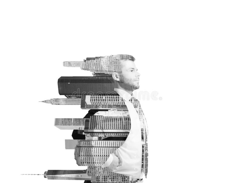 Abstrakcjonistyczna przejrzysta przystojna osoba z Nowy Jork widokiem na białym tle Czarny i biały wizerunek fotografia royalty free